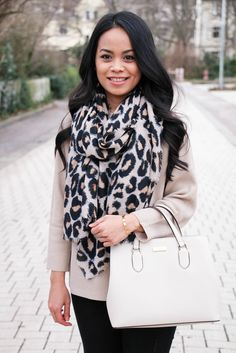 Neutral look for winter with leo scarf and Kate Spade bag.