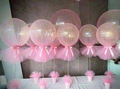 BALLOONS wrapped in TULLE for a Party! Love this idea & it's so easy to make! What do you think? These are the BEST Party Decorating Ideas! http://kitchenfunwithmy3sons.com/2016/03/best-party-decorating-ideas-and-themes.html/