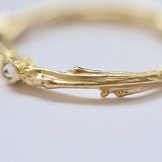 14k Yellow Gold Twig Solitaire Ring with Diamond Yellow Gold Stacking Band