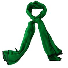 Green cashmere and silk scarf with black border