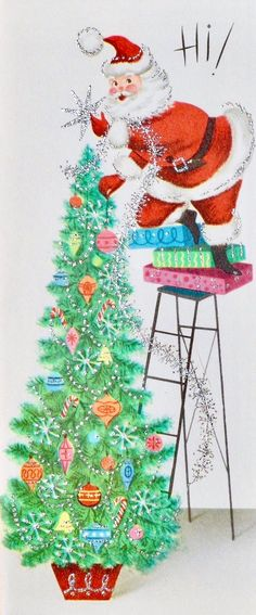 #retrochristmas Mid-century Modern Christmas Card. Retro Santa. Tree Trimming.