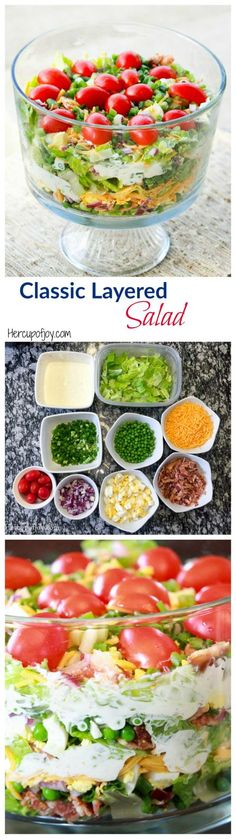 Classic Layered Salad - Her Cup of Joy This festive layered salad is a must have at family parties. Healthy Side Dishes, Side Dishes Easy, Side Dish Recipes, Kos, Seven Layer Salad, Italian Salad Recipes, Cooking Recipes, Healthy Recipes, Slaw Recipes