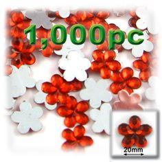 1000-pc Acrylic Flatback Flower Rhinestones 20mm Ruby Red