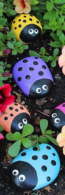 Ladybug Painted Rocks: ladybug rocks for the garden