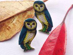 Owl earrings-original illustration-owl stud by Slumbermonkey