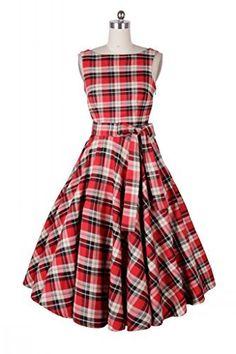 Ecollection Damen Audrey Hepburn 50s Retro Tartan Check vintage Bubble Skirt Rockabilly Swing Evening Dress, http://www.amazon.de/dp/B00XOCHOLO/ref=cm_sw_r_pi_awdl_K50vvb1YGR3Q6