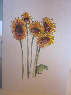 Sunflowers Watercolor Card. $3.50, via Etsy.