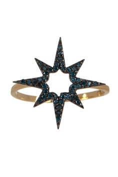 14K Gold & Blue Diamond Sunburst Ring