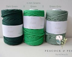 4 mm Twisted 100% cotton macrame rope - 50 meters, dark blue, dark green, green-grey and black