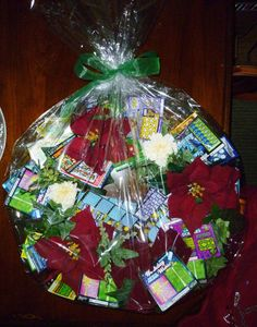 wrapped Christmas lottery ticket wreath