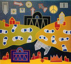 Λάδι σε μουσαμά, 1971 Greek Art, Kids Rugs, Artists, Patterns, Projects, Decor, Block Prints, Log Projects, Blue Prints
