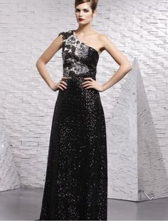 One-Shoulder Sheath Dress with Lace and Beadings Embellishments