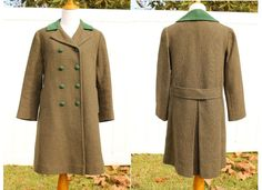 Vintage 60s Wool Tweed Swing Coat With Forest by TheRubyOlive, $65.00