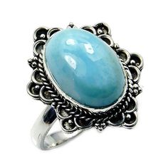 Exotic Rare Dominican Larimar Ring & .925 by TheSilverPlaza