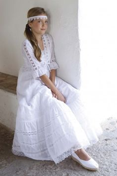 Confirmation Dresses, Baptism Dress, Dresses For Teens, Cute Dresses, Flower Girl Dresses, White Outfits, Girl Outfits, Girls Communion Dresses, Première Communion