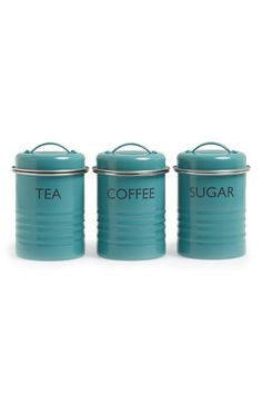 Typhoon 'Vintage Kitchen - Summer House' Enamel Tea, Coffee & Sugar Storage Canisters (Set of 3)