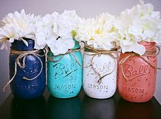 Painted Mason Jars. Shabby Chic. Navy blue by KarasCornerBoutique