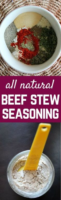 Beef Stew Seasoning Mix Recipe {all-natural} ALL NATURAL Beef Stew Seasoning Mix. Tastes better than the packets and you get…<br> ALL NATURAL Beef Stew Seasoning Mix. Tastes better than the packets and you get to control the flavors and the sodium. Homemade Dry Mixes, Homemade Spice Blends, Homemade Spices, Homemade Seasonings, Spice Mixes, Soup Mixes, Homemade Italian Seasoning, Beef Stew Seasoning, Seasoning Mixes
