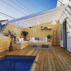 torjusan: Ny terrasse med nedfelt basseng - - torjusan Torjusan: New terrace with folded pool - - To Planter Box Plans, Wooden Planter Boxes, Diy Planter Box, Diy Planters, Patio Steps, Rooftop Patio, Terrace, Home Garden Design, Home And Garden