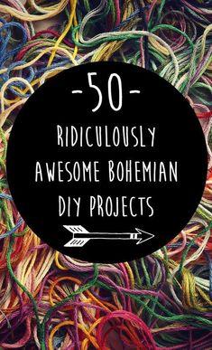 50 Ridiculously Awesome Bohemian DIY Projects {Boho hippie home decor, bath &amp... - Home Decor Designs
