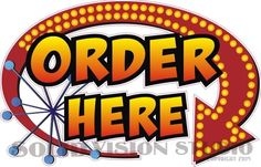 #SolidVisionStudio Order Here D Concession Trailer Ice Cream Food Truck Restaurant Sign Decal