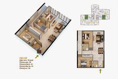 Sơ đồ thiết kế mặt bằng căn hộ Chung cư Goldmark City 136 Hồ Tùng Mậu