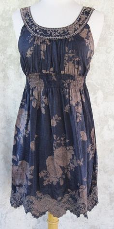 MINE Anthropologie Dress SMALL Blue and Beige Scoop Pull On Embroidered #Mine #Sundress #Casual