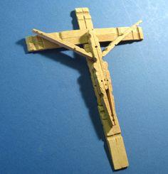Clothespin Cross Vintage Handmade Rustic Folk by flabbyrabbit