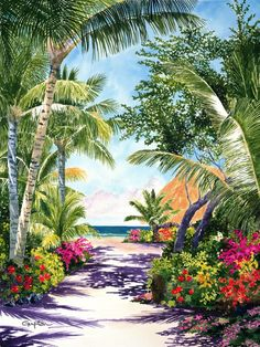 path-to-paradise-800pixels :: Posters :: Tropical paintings in watercolor, oil and acrylic by Penny Gupton