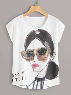 To find out about the Figure And Letter Print Tee at SHEIN, part of our latest T-Shirts ready to shop online today! T Shirt Designs, T Shirt Painting, Teen Girl Fashion, Tank Top Outfits, Painted Clothes, Latest T Shirt, Petite Outfits, T Shirt Diy, T Shirts For Women