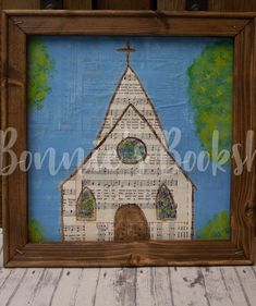 Chapel painted on hymnal sheets Book Lovers, Stained Glass, Sheet Music, Paper Crafts, Hand Painted, Frame, Paintings, Products, Picture Frame