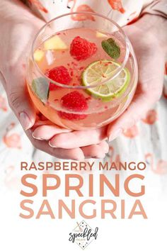 Raspberry Mango Spring Sangria sings of warm weather flavors! | Warm Weather Sangria | Summer Sangria | Easy Sangria Recipe | Easy Pitcher Drink | Cocktail Recipe | Raspberry Sangria | Mango Sangria | #mixeddrink #sangria #speckledpalate