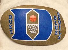 Duke Blue Devils painted stone 23lb. SNS DESIGNS
