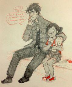 Nico spoiling his niece. Please Percy Jackson fandom artists, make more! Percy Jackson Memes, Percy Jackson Books, Percy Jackson Fandom, Solangelo, Percabeth, Magnus Chase, Oncle Rick, Team Leo, Roman