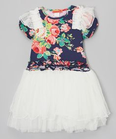 Look at this Navy Floral Ruffle Tutu Tunic - Toddler & Girls on #zulily today!