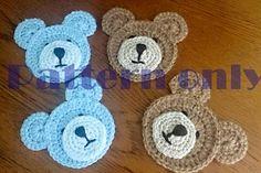 Crochet Pattern for Teddy Bear Embellishment PDF Instant Crochet Applique Patterns Free, Crochet Patterns For Beginners, Knitting For Beginners, Knitting Patterns, Easy Patterns, Crochet Teddy, Crochet Bear, Crochet Animals, How To Start Knitting