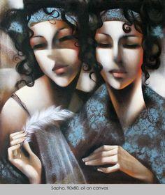 Ira Tsantekidou / SAPHO / oil on canvas, 90x80cm, 2008.
