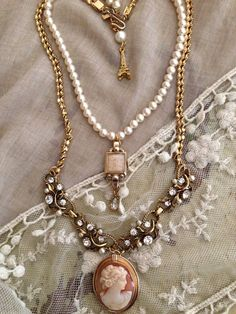 Victorian inspired double strand assemblage necklace using vintage repurposed jewelry components.