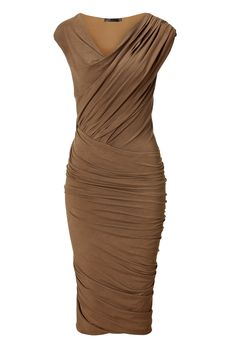 Donna Karan New York Clay Cap Sleeve Twist Drape Dress in Brown (clay)