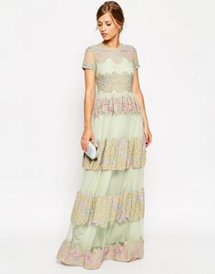 ASOS SALON Lace and Embroidered Panel Maxi Dress