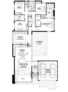 Mod - 9 Barakee Road, Wandi - Summit Homes 4 Bedroom House Plans, New House Plans, House Floor Plans, Bungalow House Design, Small House Design, Duplex Design, Home Design Floor Plans, Plan Design, House Plans Australia
