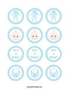 """It's a boy"" cupcake toppers. Use the circles for cupcakes, party favor tags, and more. Free printable PDF download at http://cupcakeprintables.com/toppers/its-a-boy-cupcake-toppers/"