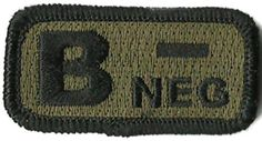 "Tactical Blood Type Patches - ""Type B Negative"" - 2""x1"" (Olive Drab) Gadsden and Culpeper, http://www.amazon.com/dp/B0081BD9EY/ref=cm_sw_r_pi_dp_5zmdrb02XJ7NK"