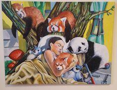 Water mixable oil colour x 60 cm //children //panda//red panda//monkey//Modern art //Children art// canvas// oil colours by SoulArtAlina on Etsy Art Children, Art For Kids, Red Panda, Oil Paintings, Monkey, Modern Art, Canvas Art, Colours, Unique Jewelry