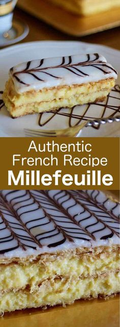 Millefeuille is a French pastry prepared with 3 layers of puff pastry and 2 laye. Millefeuille is a French pastry prepared with 3 layers of puff pastry and 2 layers of pastry cream, and that is cove British Desserts, French Desserts, Just Desserts, Delicious Desserts, French Recipes, French Sweets, Gourmet Desserts, Plated Desserts, Napoleon Dessert