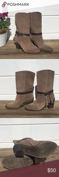 NWOT! Mia Limited Edition Brown Suede Boots NWOT! Mia Limited Edition Brown Suede Boots. Have buckle that allows for a little tighter at ankle. Has a tassel as well at ankle.   Fantastic Boots!!  Size 10M Mia Shoes Heeled Boots