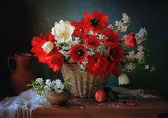 With a basket of spring flowers by Tatiana Skorokhod