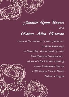 purple rose wedding invitations