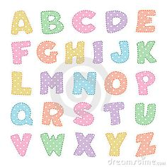 Alphabet with Pastel Polka Dots