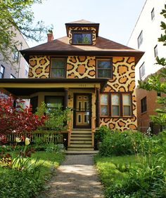 Cool!  Leopard house!  I'd totally do this. I really hate those home-owner organizations that make you have your house color approved. If you want a Leopard House, you should have a Leopard House!